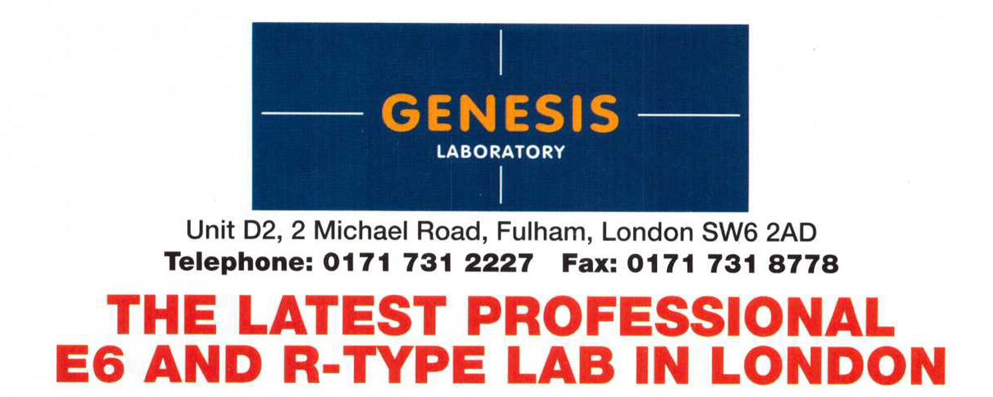 Genesis Laboratory Ltd opens in January 1997.
