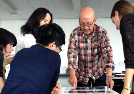 Our Creative Director Mark explaining printing services to MA photography students at London College of Communication