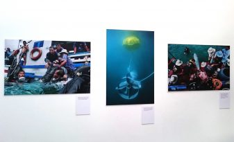 Charles Fox 'Dark Water: Cambodia's UXO Divers' at Brunei Gallery, London. Exhibition Printing by Genesis Imaging.
