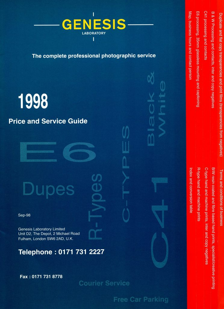 Genesis Laboratory Ltd. price guide 1998. Click to Enlarge.