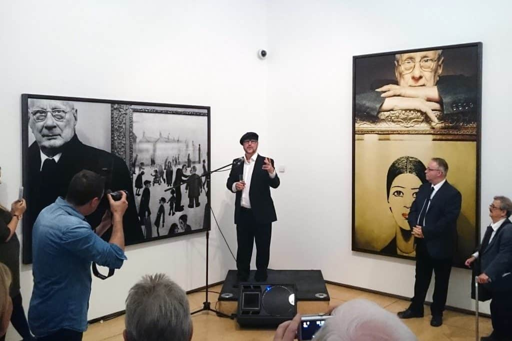 """Clive Arrowsmith """"Lowry at Home: Salford 1966"""" at The Lowry, Salford. Giclée Fine Art Prints by Genesis Imaging."""