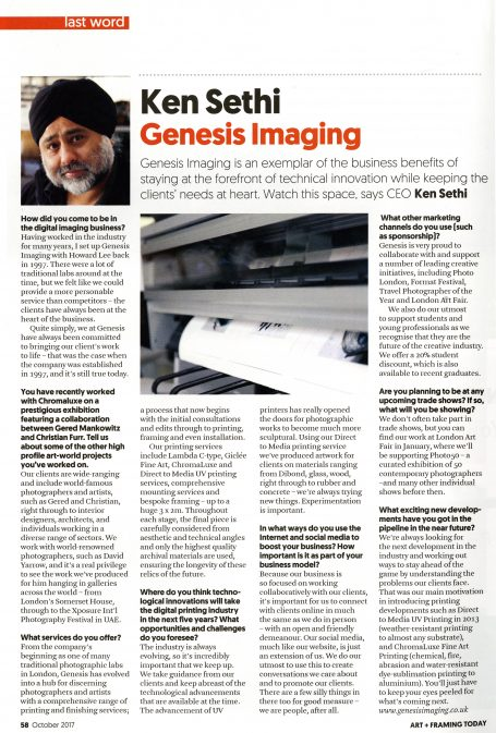 Ken Sethi of Genesis Imaging in the October issue of Art and Framing Today - The monthly magazine by The Fine Art Trade Guild