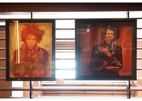Mr Jimi-Sunflower Gold 2017 Unique hand-finished print on paper 74x59cm and Jimi - Smoking Red 2017 Unique hand-finished ChromaLuxe print 70x70cm, both by Furr&Mankowitz