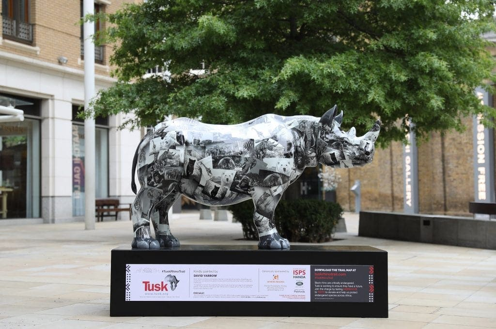 A Rhino with artwork by David Yarrow is seen on the Tusk Rhino Trail on August 19, 2018 in London, England.This Rhino is sponsored by Genesis Imaging.