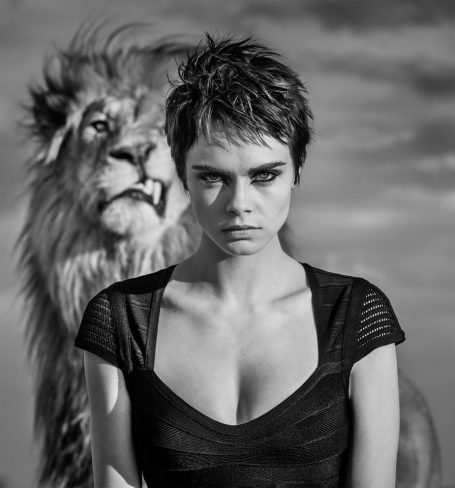 Cara Delevinge and Lion for TAG Heuer, shot by David Yarrow