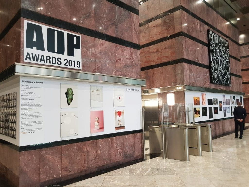 AOP Awards 2019 Exhibition installed at Canary Wharf