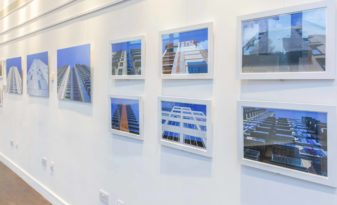 Image of installation of 'From Construction to Completion' by Kirsty Meredith, with Lambda C-type prints by Genesis Imaging